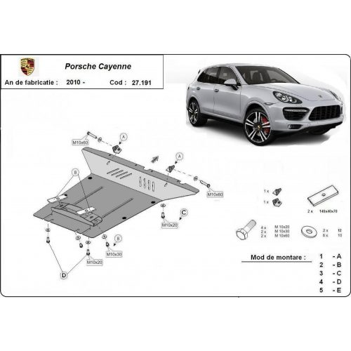 Porsche Cayenne, 2010-2018 - Acél Motorvédő lemez