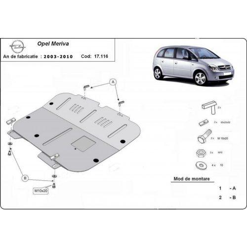 Opel Meriva A, 2003-2010 - Acél Motorvédő lemez