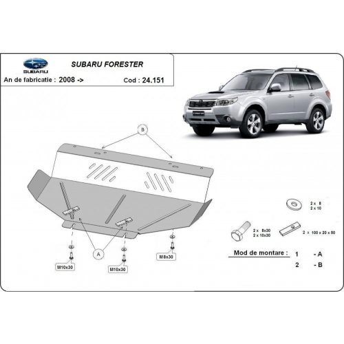 Subaru Forester, 2008-2013 - Acél Motorvédő lemez
