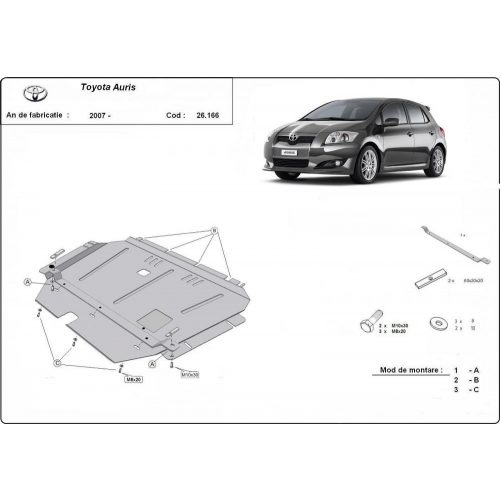 Toyota Auris, 2007-2020 - Acél Motorvédő lemez