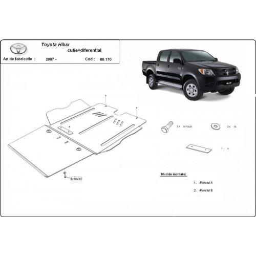 Toyota Hilux II, 2004-2015 - Acél Váltó-, és differenciálmű védő lemez
