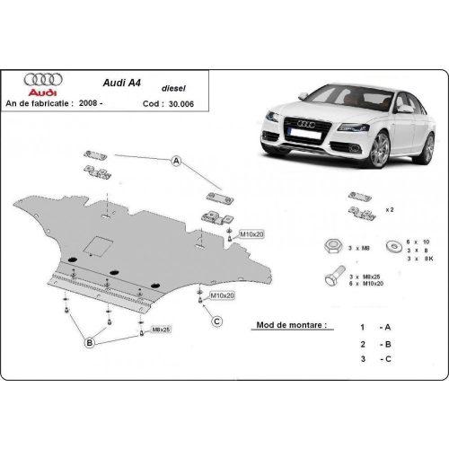 Audi A4 New,D 2008-2014 - Acél Motorvédő lemez