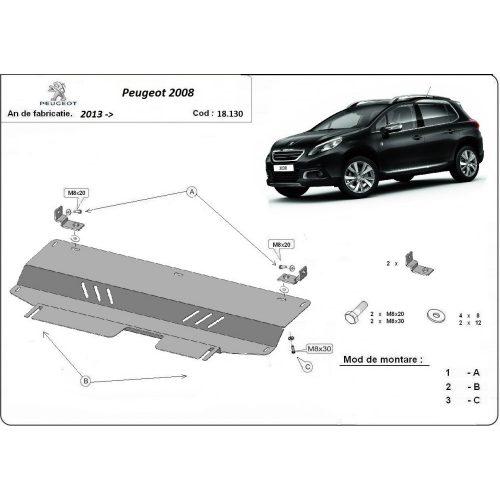 Peugeot 2008, 2013-2020 - Acél Motorvédő lemez