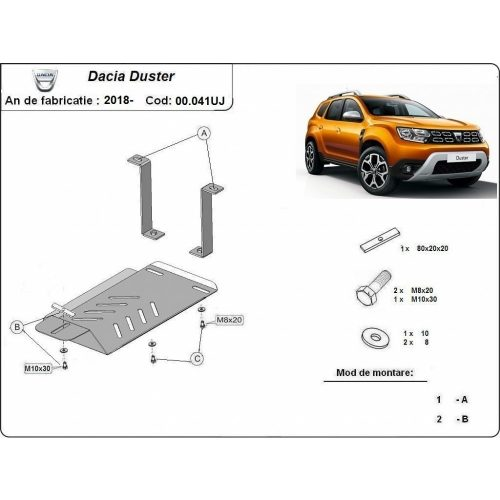Dacia Duster II ÚJ, 2018-2020 - Acél Differenciálmű védő lemez