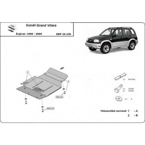 Suzuki Grand Vitara, 1999-2005 - Motorvédő lemez