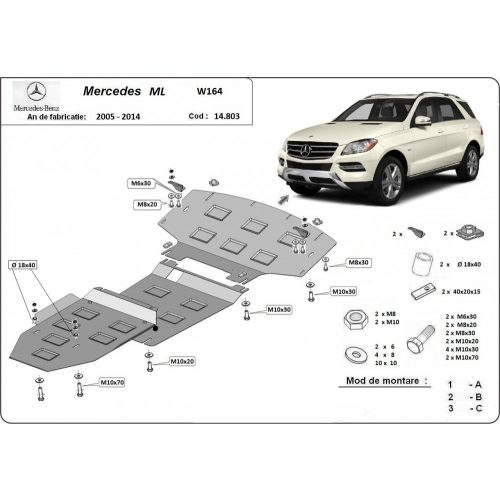 Mercedes ML W164, 2005-2011 - Motor- és váltóvédő lemez