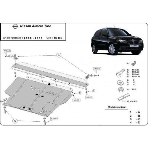 Nissan Almera Tino, 2000-2006 - Acél Motorvédő lemez