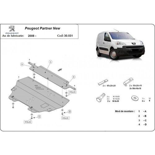 Peugeot Partner, 2008-2020 - Motorvédő lemez