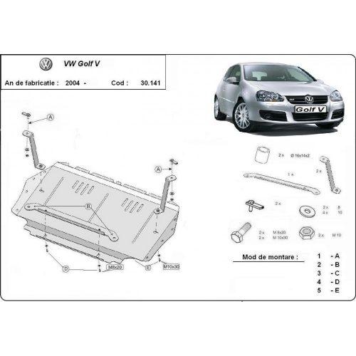 VW Golf 5, 2004-2010 - Motorvédő lemez