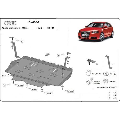 Audi A3, 2003-2008 - Acél Motorvédő lemez