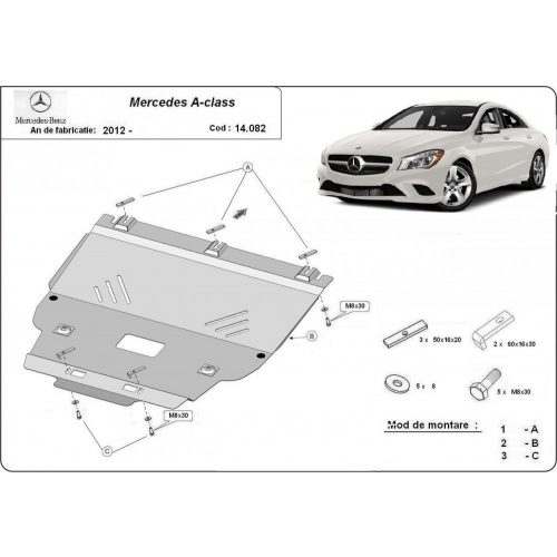 Mercedes A-Class, W176 2012-2020 - Motorvédő lemez