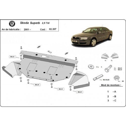 Skoda Superb, 2001-2008 - Acél Motorvédő lemez