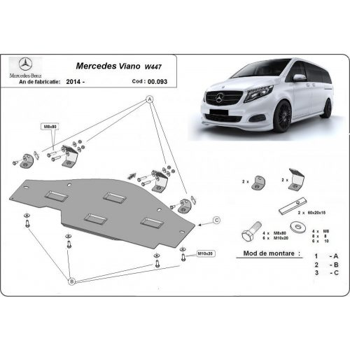 Mercedes Viano W447, 2014-2020 - RWD, Stop&Go védő lemez