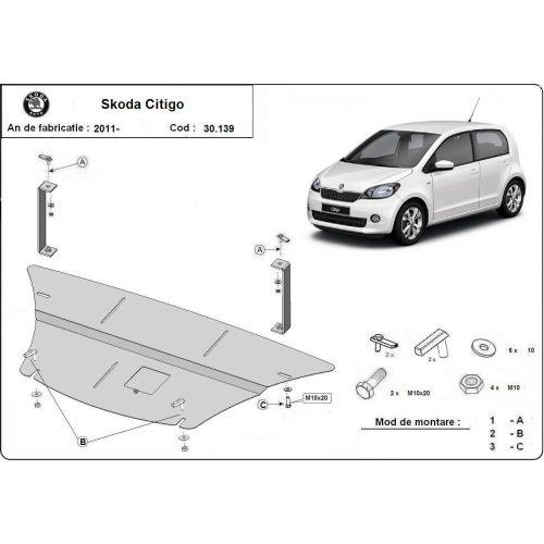 Skoda Citigo, 2011-2020 - Acél Motorvédő lemez