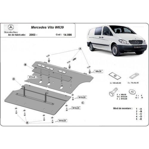 Mercedes Vito W639, 2003-2014 - Acél Motorvédő lemez