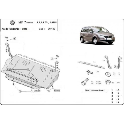 Volkswagen Touran, 2010-2015 - Motorvédő lemez