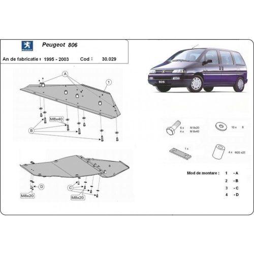 Peugeot 806, 1995-2003 - Acél Motorvédő lemez