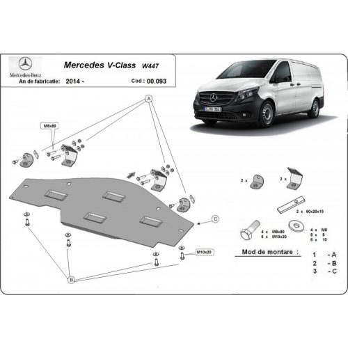 Mercedes V-Classe W447, 2014-2020 - Acél RWD, Stop&Go védő lemez