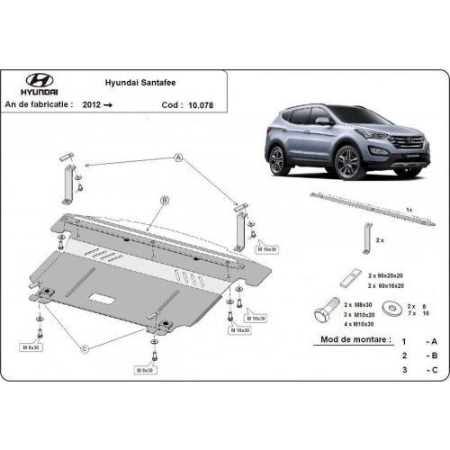 Hyundai Santa Fe III, 2012-2020 - Motorvédő lemez