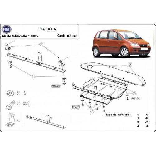 Fiat Idea, 2003-2020 - Acél Motorvédő lemez