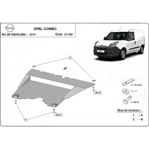Opel Combo, 2010-2018 - Motorvédő lemez
