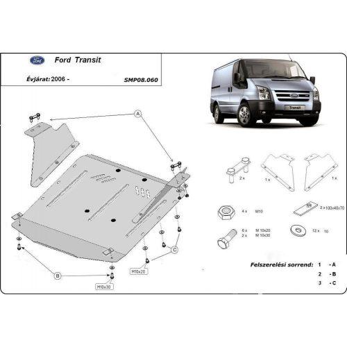 Ford Transit, (FWD)  2007-2013  - Acél Motorvédő lemez
