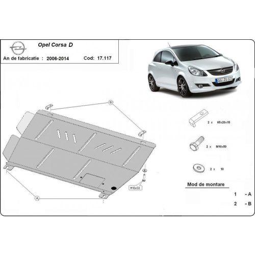 Opel Corsa D, 2006-2014 - Acél Motorvédő lemez