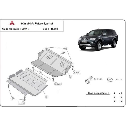 Mitsubishi Pajero Sport II, 2007-2020 - Acél Motorvédő lemez