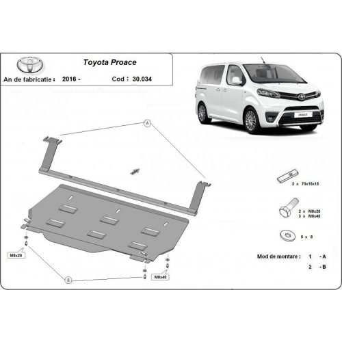 Toyota Proace teher, 2016-2020 - Motorvédő lemez