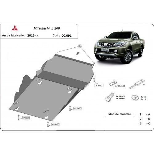 Mitsubishi L200, 2015-2020 - Motor- és Váltóvédő lemez