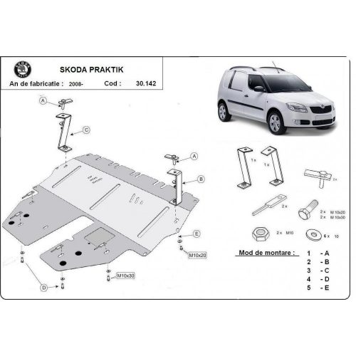 Skoda Praktik, 2008-2020 - Motorvédő lemez