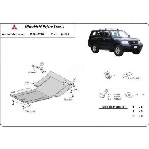 Mitsubishi Pajero Sport I, 1998-2007 - Acél Motorvédő lemez