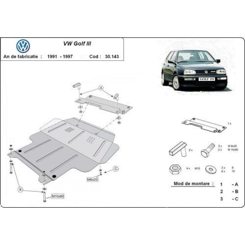 VW Golf 3, 1991-1998 - Motorvédő lemez