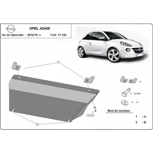 Opel Adam, 2012-2020 - Acél Motorvédő lemez