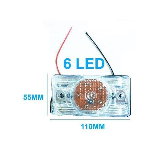 6 LED-es 24V-os szélességjelző helyzetjelző fehér - AE-LA562W