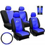 Univerzális autós üléshuzat garnitúra kék-fekete - 11 részes