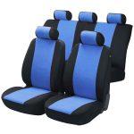 Univerzális 8 részes osztható üléshuzat szett - fekete-kék steppelt