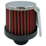 Karterszűrő króm hővédő lemezzel - 12mm - 65x75mm