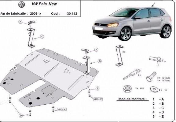 VW Polo New, 2009-2017 - Motorvédő lemez