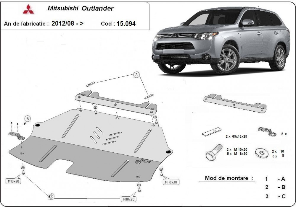Mitsubishi Outlander 2012-2018 - Motorvédő lemez