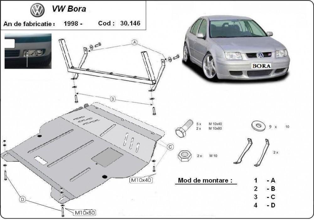 VW Bora, 1998-2005 - Motorvédő lemez
