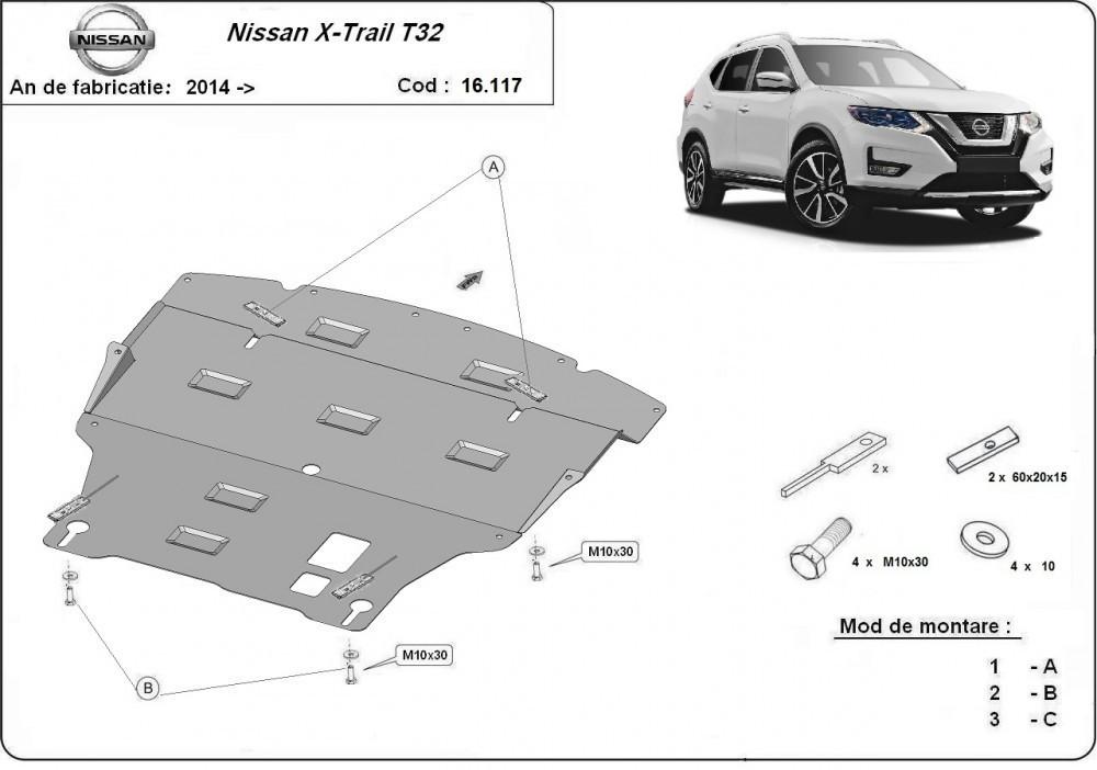 Nissan X-Trail T32, 2014-2020 - Motorvédő lemez