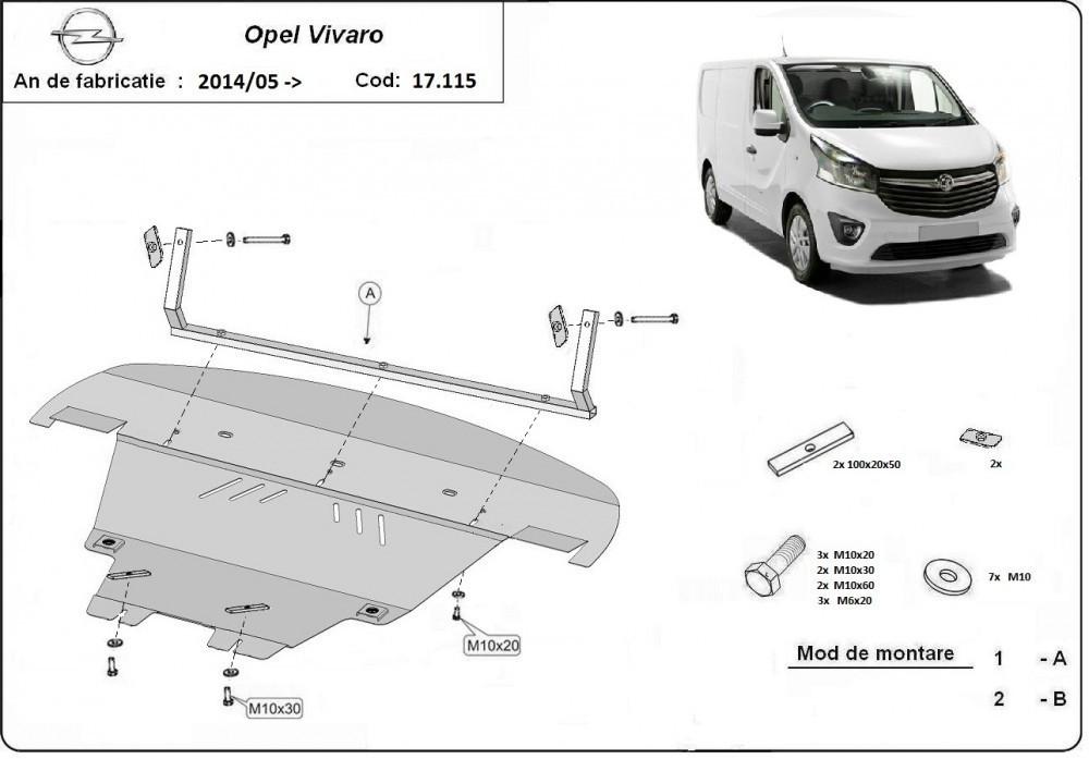 Opel Vivaro, 2014-2018 - Motorvédő lemez