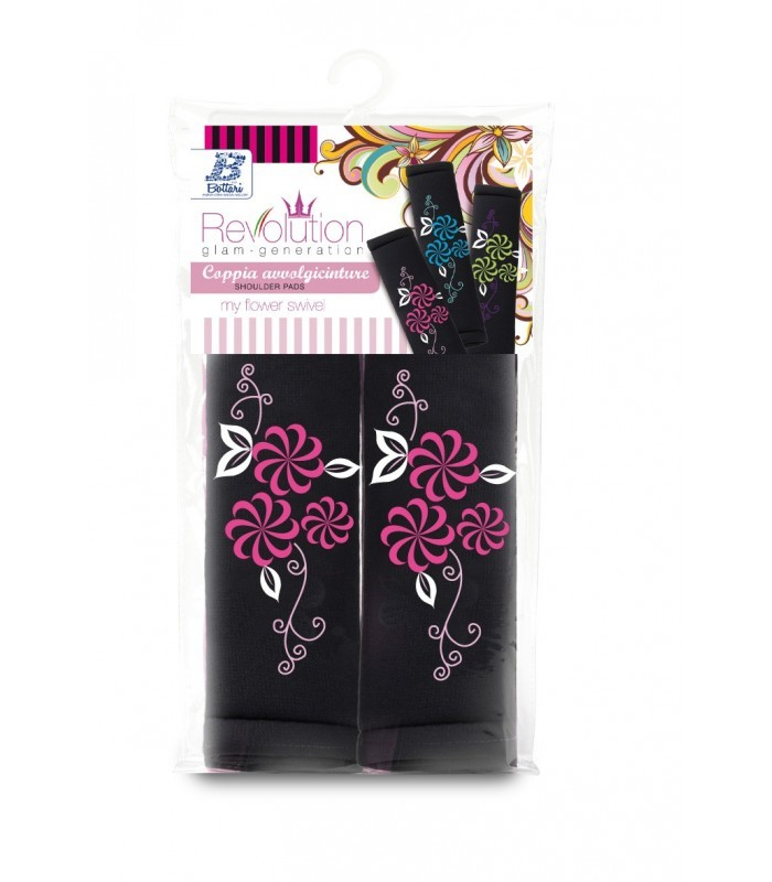 Bottari My Flower Swivel - biztonsági övpárna, fekete, rózsaszín virágmintás