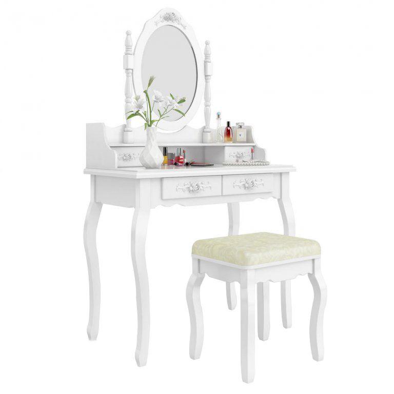 Tükrös fésülködő asztal párnázott székkel, Rome - fehér