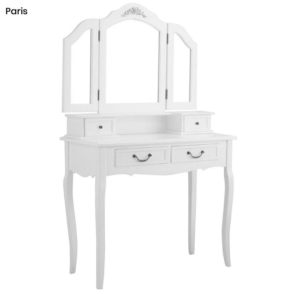 Tükrös fésülködő asztal párnázott székkel, Paris - fehér