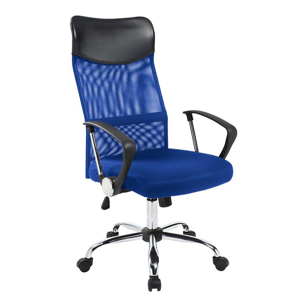 Ergonomikus irodai szék magasított háttámlával - kék